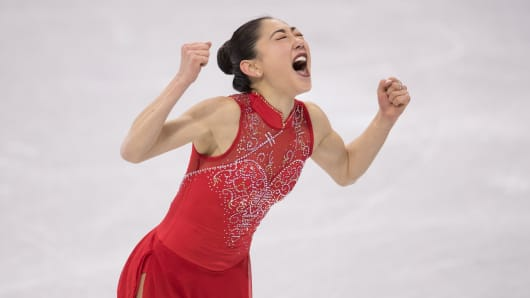 Mirai Nagasu of the United States competes in the Figure Skating Team Event Ladies Single Free Skating on day three of the PyeongChang 2018 Winter Olympic Games on February 12, 2018 in Gangneung, South Korea.