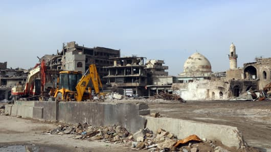 Reconstruction works continue in Mosul, Iraq after 9 months long anti Daesh operations on January 25, 2018.