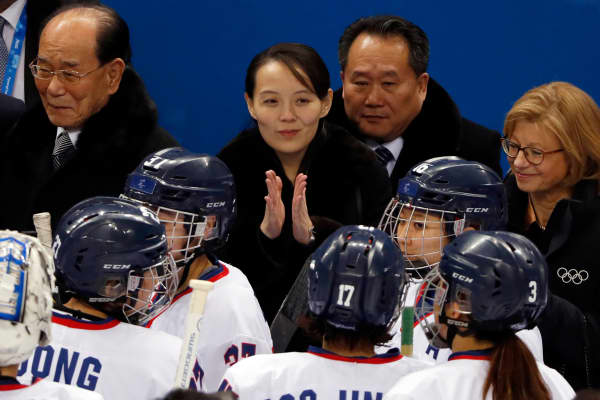 Kim Yo Jong, the younger sister of North Korean leader Kim Jong Un, claps during a Women Preliminary Round Match between Switzerland and Korea.