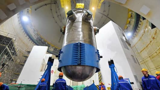 A reactor pressure vessel of the No.5 unit of the CNNC Fuqing nuclear power plant on January 28, 2018.
