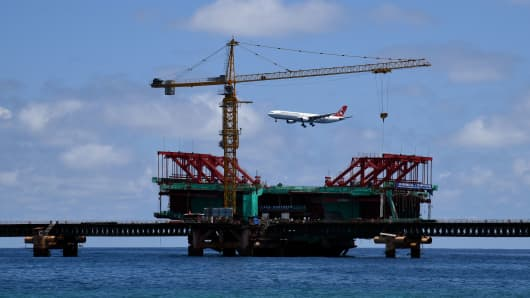 The under-construction China Maldives Friendship Bridge is pictured near the city of Male on February 8, 2018.