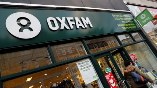 A branch of Oxfam in London, February 12, 2018.