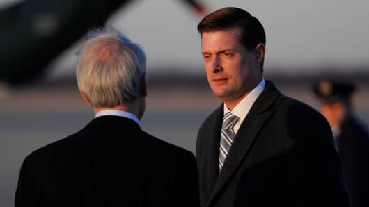 White House Staff Secretary Rob Porter arrives with U.S. President Donald Trump and first lady Melania Trump aboard Air Force One at Joint Base Andrews, Maryland, U.S. February 5, 2018. Picture taken February 5, 2018.