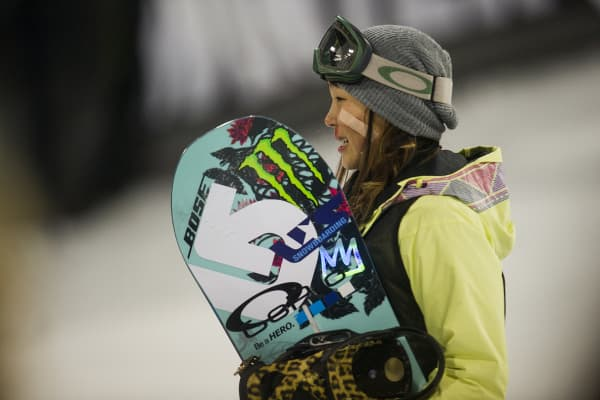 Chloe Kim reacts after competing in the final run of the women's snowboard superpipe at Winter X Games Aspen 2015 at Buttermilk Mountain on January 24, 2015, in Aspen, Colorado. Kim, 14, is the youngest gold medalist in X Games history.