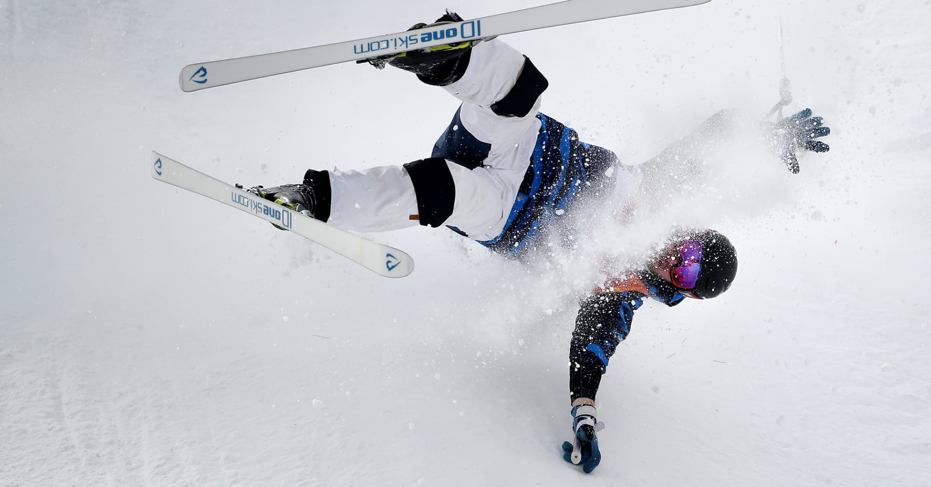Jussi Penttala of Finland crash lands during the Freestyle Skiing Men's Moguls Qualification at Phoenix Snow Park on February 9, 2018 in PyeongChang, South Korea.