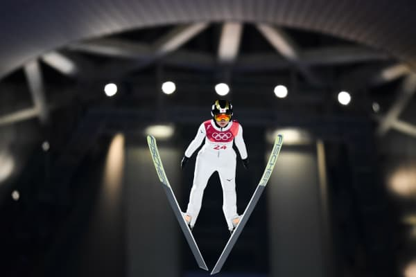 Japan's Yuka Seto competes in the women's normal hill individual ski jumping event during the Pyeongchang 2018 Winter Olympic Games.