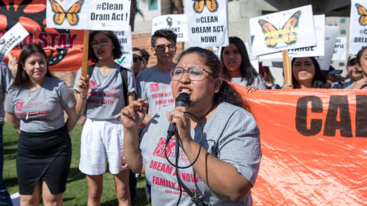 A DACA recipient who was brought to the U.S. when she was 4-years-old, speaks during a rally in support of a permanent legislative solution for immigrants in Los Angeles, California, February 3, 2018.