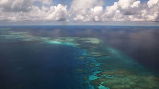 Part of mischief reef in the disputed Spratly islands in the South China Sea on April 21, 2017.
