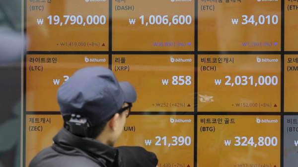 A screen showing prices at a Cryptocurrency exchange store in Seoul on December 15, 2017.