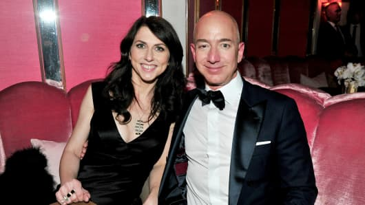 CEO of Amazon Jeff Bezos and writer MacKenzie Bezos attend the Amazon Studios Oscar Celebration at Delilah on February 26, 2017 in West Hollywood, California.