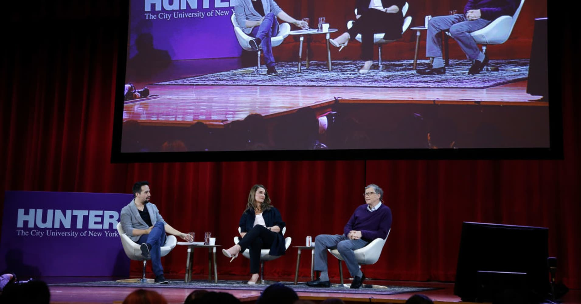 Lin-Manuel Miranda, Melinda Gates and Bill Gates speak during the panel at Hunter College on February 13, 2018 in New York City.