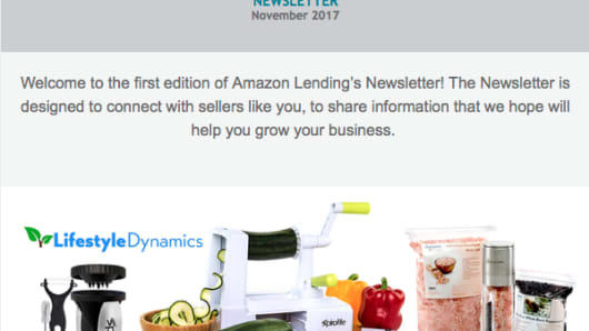 Amazon Lending's first-ever newsletter sent out to sellers in November 2017.