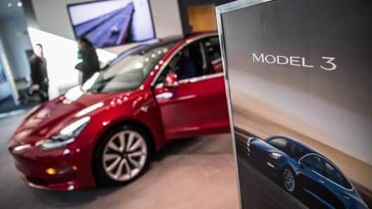 Tesla's Model 3 at the Tesla store in Washington, D.C.