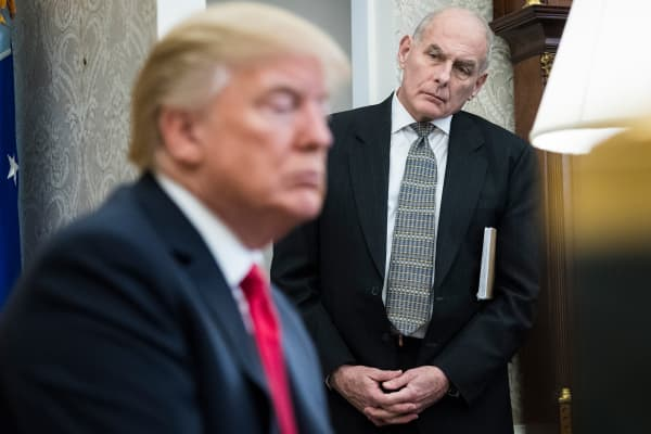 White House Chief of Staff John Kelly watches as President Donald Trump speaks during a meeting with North Korean defectors in the Oval Office at the White House in Washington, DC on Friday, Feb. 02, 2018.