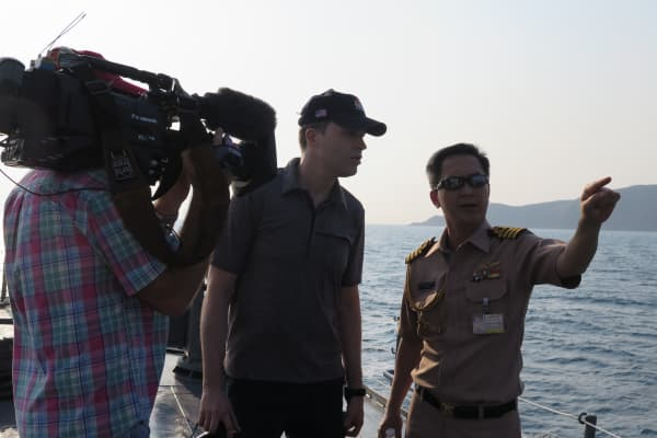 CNBC's Ted Kemp interviews a Thai Naval officer during a patrol searching for illegal fishing vessels.
