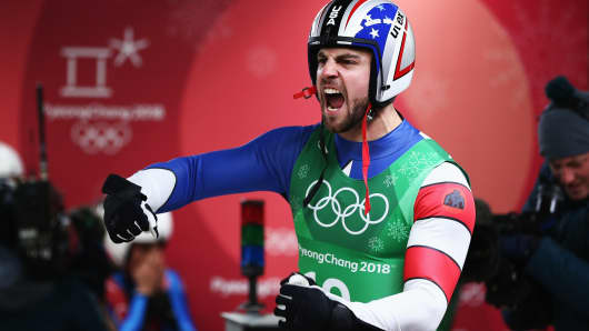 Chris Mazdzer of the United States reacts during the Luge Team Relay on day six of the PyeongChang 2018 Winter Olympic Games at Olympic Sliding Centre on February 15, 2018 in Pyeongchang-gun, South Korea.
