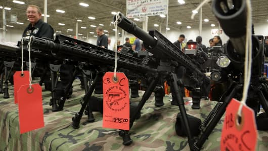AR-15 rifles are on display during the Nation's Gun Show November 18, 2016 at Dulles Expo Center in Chantilly, Virginia.