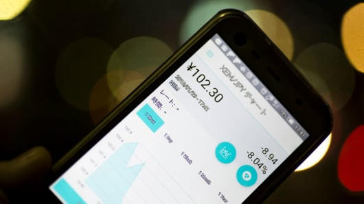 The exchange rate of the NEM virtual currency against Japanese yen is seen on Coincheck's cryptocurrency wallet app.