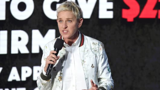 Ellen DeGeneres speaks onstage during 'One Voice: Somos Live! A Concert For Disaster Relief' at the Universal Studios Lot on October 14, 2017 in Los Angeles, California.