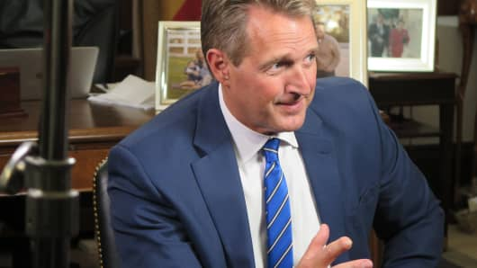 Sen. Jeff Flake speaking with CNBC's John Harwood.