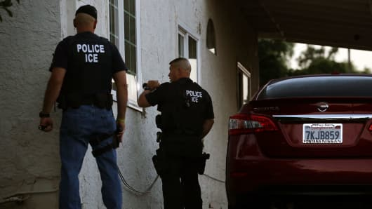 ICE Enforcement and Removal Operations unit raid to apprehend immigrants without any legal status and who may be deportable in Riverside.