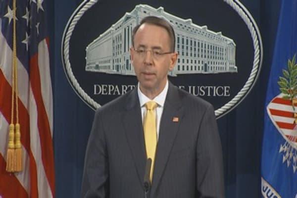Deputy AG Rod Rosenstein holds presser on Russian indictments