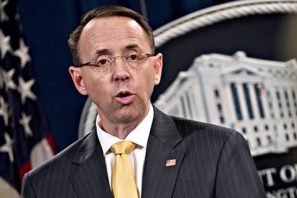 Rod Rosenstein, deputy attorney general, speaks during a news conference at the Department of Justice in Washington, D.C., on Friday, Feb. 16, 2018.