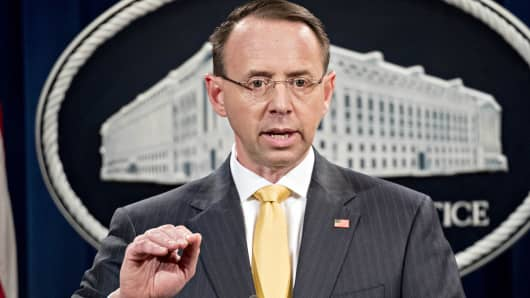 Rod Rosenstein deputy attorney general speaks during a news conference at the Department of Justice in Washington D.C. U.S. on Friday Feb. 16 2018