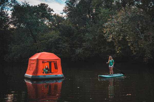 A SmithFly Shoal Tent can make camping on the water possible and can hold 1,200 pounds.