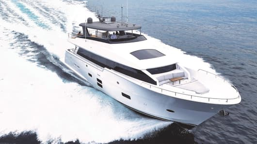 A photo of the of the Hatteras M90 Pancera, sold by Denison Yachting.