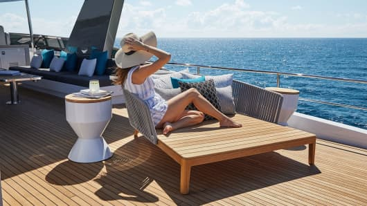 A photo of the of deck on the Hatteras M90 Pancera, sold by Denison Yachting.