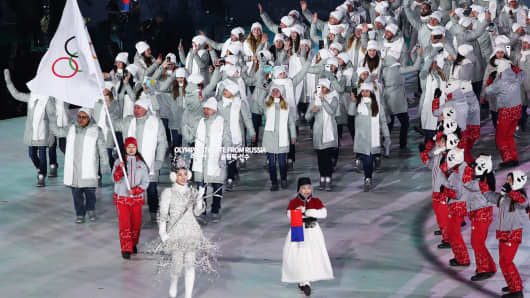 Olympic Athletes from Russia take part in the Parade of Nations at the opening ceremony of the PyeongChang 2018 Winter Olympic Games at Pyeongchang Olympic Stadium.