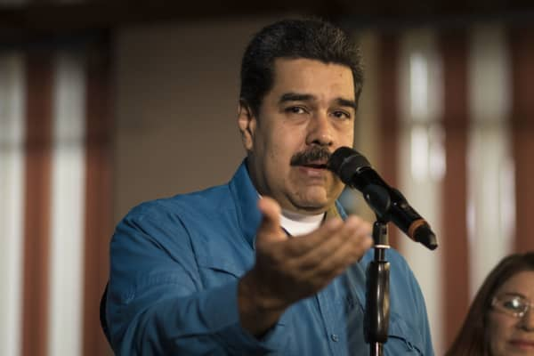 Nicolas Maduro Venezuela's president addresses members of the media during a press event in Caracas Venezuela