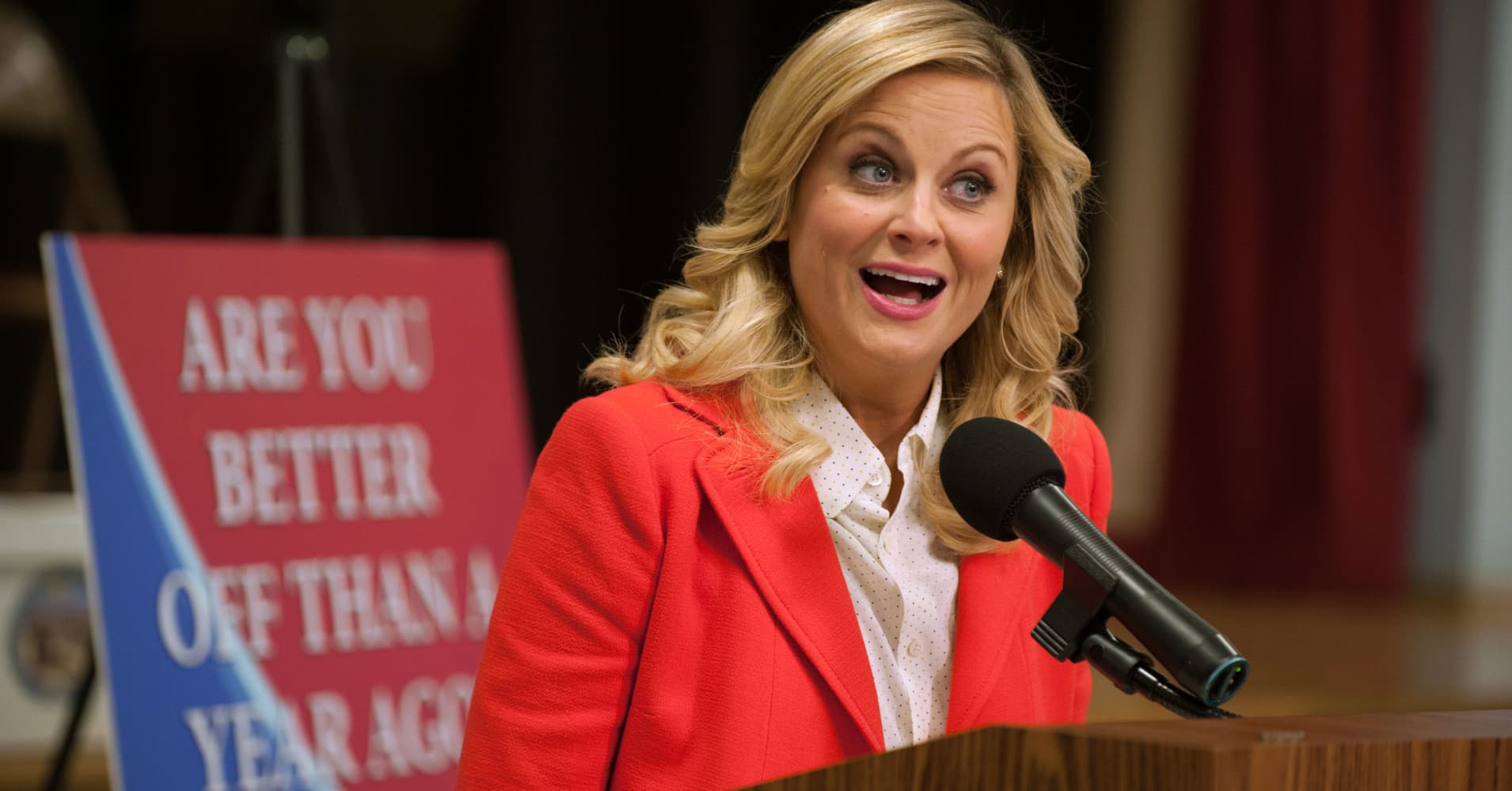 "Amy Poehler as Leslie Knope, on ""Parks and Recreation"""