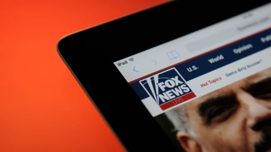 The Fox News logo is seen on an iPad on October 25, 2017.