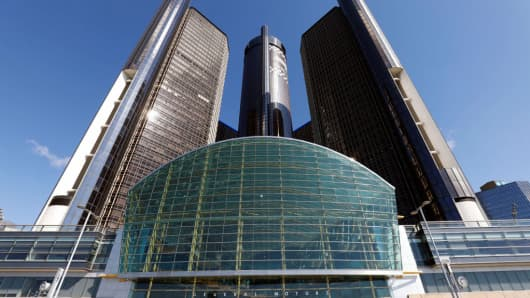 The General Motors Global Headquarters shown on June 6, 2017 in Detroit, Michigan.