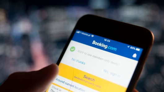 The Booking.com hotel reservations applications is seen on an iPhone on December 7, 2017. (Photo by Jaap Arriens/NurPhoto via Getty Images)