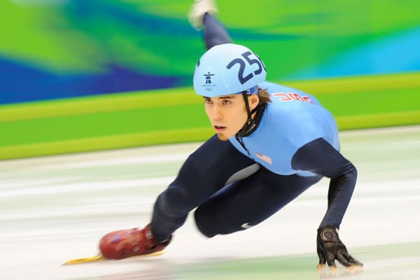 Vancouver 2010: Apolo Anton Ohno in a heat prior to winning a silver medal in short track speed skating in the Mens 1500 meters.