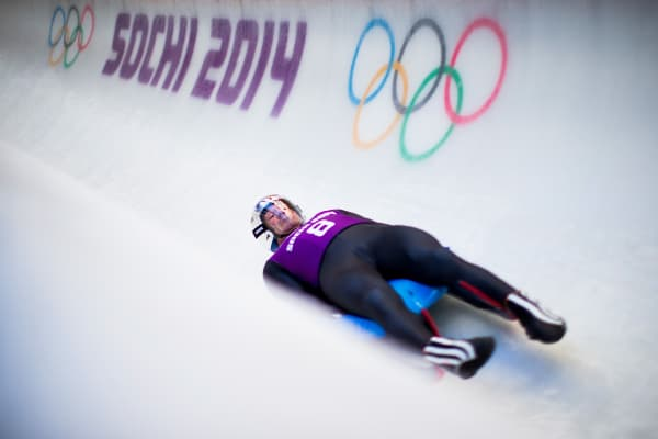 Italy's Armin Zoeggeler takes part at the Luge Men's Singles Training session ahead of the Sochi 2014 Winter Olympics.