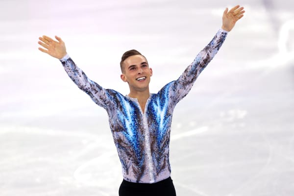 Adam Rippon celebrates after competing on day three of the PyeongChang 2018 Winter Olympic Games