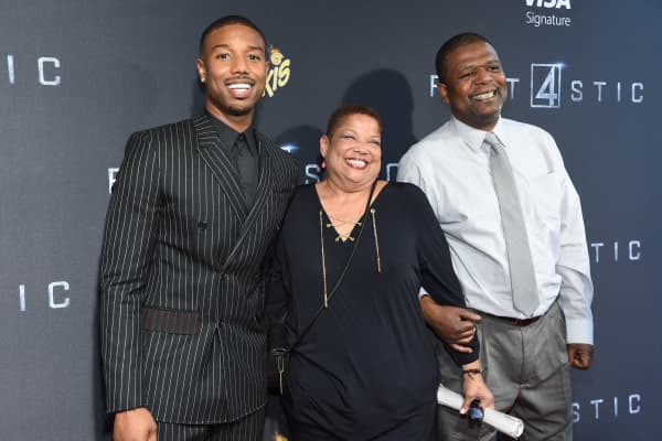 Actor Michael B. Jordan poses with his parents