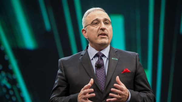Antonio Neri, CEO of Hewlett Packard Enterprise, speaks at the 2017 HP Discover 2017 conference in Las Vegas.