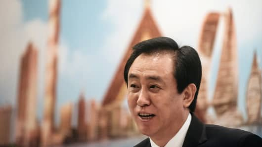 Hui Ka Yan, chairman ofChina Evergrande Group, speaks during a news conference in Hong Kong, China, on Tuesday, March 28, 2017