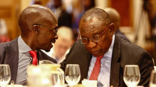 South African President Cyril Ramaphosa and Finance Minister Malusi Gigaba during a pre-World Economic Forum briefing on January 18, 2018, in Johannesburg, South Africa.