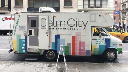 Calm City, a meditation truck, travels throughout New York City.