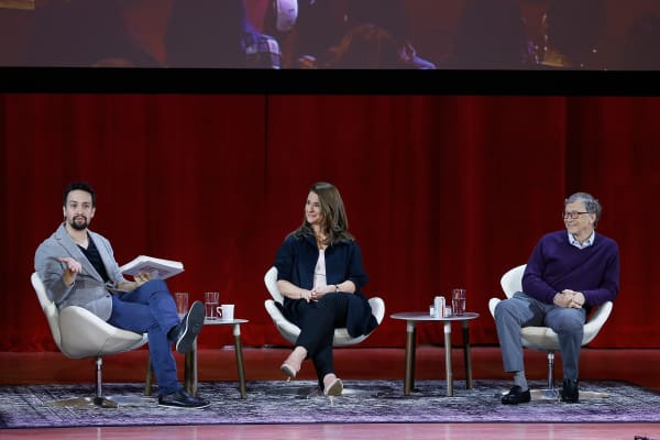 Lin-Manuel Miranda, Melinda Gates and Bill Gates speak during a panel at Hunter College in New York City