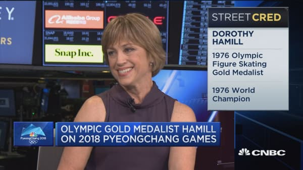 Olympics gold medalist Dorothy Hamill at the NYSE