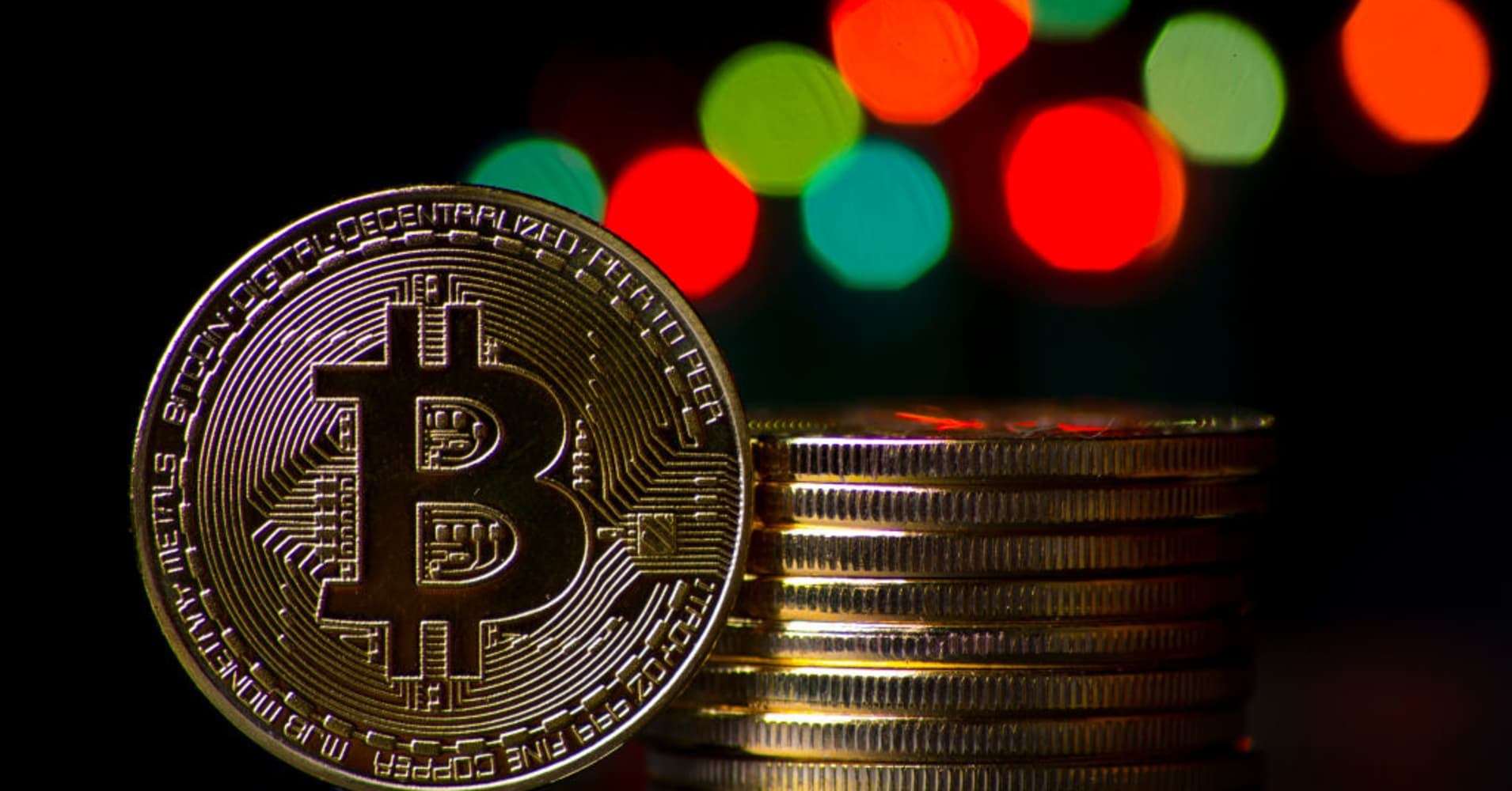 A visual representation of the cryptocurrency Bitcoin on December 12, 2017 in London, England.