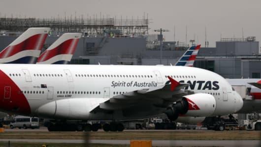 A Qantas Airbus A380 plane at Heathrow Airport in west London.