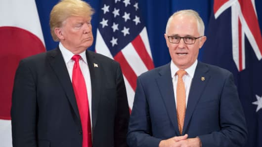 President Donald Trump and Australia Prime Minister Malcolm Turnbull at the 31st ASEAN Summit in Manila on November 13, 2017.